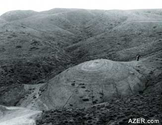 A hill created by a mud volcano in Aghjakand village of Kalbajar region, photo 1936. Kalbajar has been under Armenian occupation since 1992. (Photo: Azerbaijan National Photo Archives)