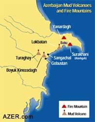 Map of major mud volcanoes near Baku at the shore of the Caspian Sea
