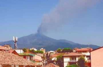 Extending ash plume from Etna volcano on 14 August (image: INGV)
