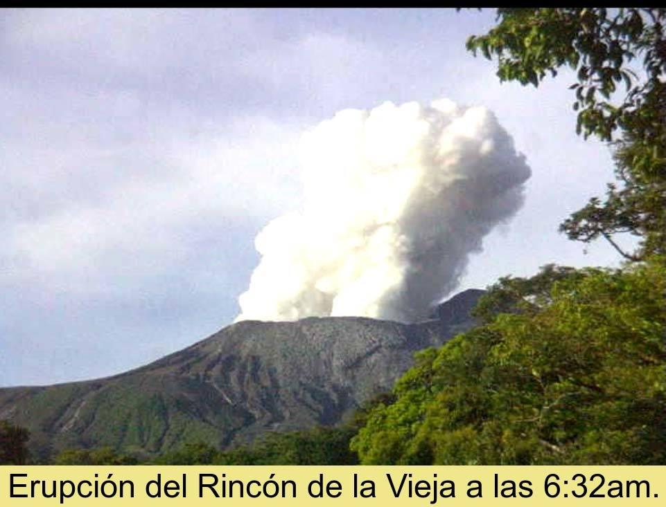 Phreatic explosion from Rincon de la Vieja volcano yesterday morning at 06:32 local time (image: OVSICORI)