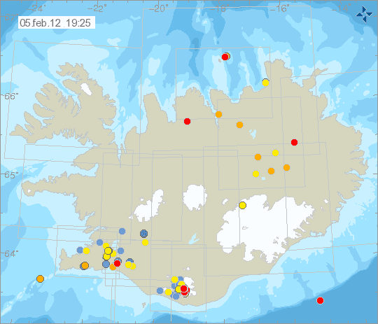 Seismicity in Iceland during the past 2 days (Icelandic Met Office)