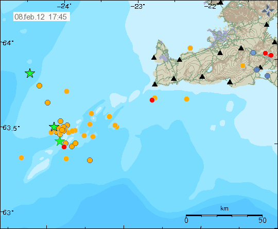 Location of the seismic swarm on 8 Feb 2012 (Icelandic Met Office)