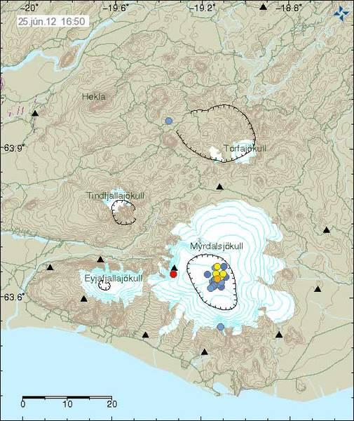 Earthquake swarm at Katla volcano on 24 June 2012 (Icelandic Met Office)
