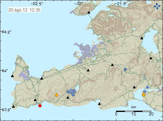 Location of the recent quakes at Krisuvik (Icelandic Met Office)