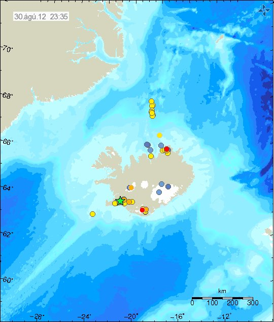 Earthquakes on and around Iceland on 30 Aug - the Kolbeinsey Ridge is the area with the yellow dots to the north (map: Icelandic Met Office)