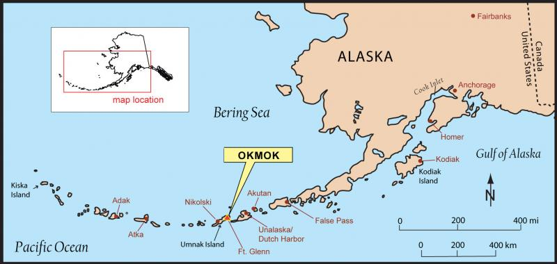 map showing location of Mount Okmok. Image source: Cameron, Cheryl, courtesy of the Alaska Volcano Observatory / Alaska Division of Geological & Geophysical Surveys