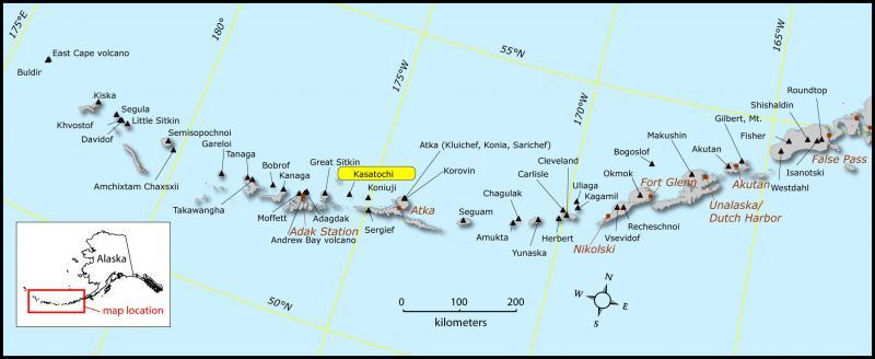Location map showing Kasatochi volcano. Image source: Snedigar, Seth, courtesy of the Alaska Volcano Observatory / Alaska Division of Geological & Geophysical Surveys