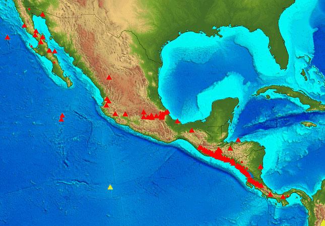 Karte der Vulkane Zentral-Amerikas. Rote Dreiecke zeigen Vulkane, die seit dem Holozän Eruptionen hatten (während der letzten 10.000 Jahre). Kleine rote Dreiecke zeigen Vulkane, die möglicherweise im Holozän Eruptionen hatten oder Pleistozän thermale Aktivitäten zeigten. Gelbe Dreiecke lassen auf Vulkane in anderen Regionen schließen. Quelle:GVP, Smithsonian Institution.