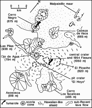 Sketch map of the El Hoyo volcanic complex and Cerro Negro. After Bice (1980).