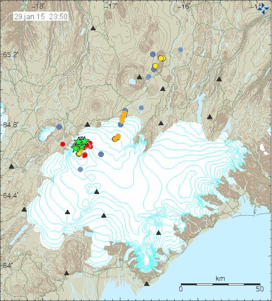 Earthquakes at Bardarbunga yesterday (IMO)