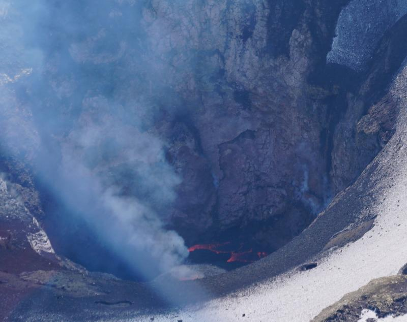 The new lava lake seen during an overflight. Credit: David Fee, AVO/UAF-GI.