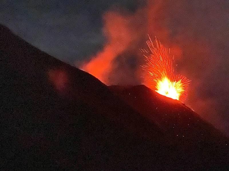 Spectacular strombolian activity from Stromboli volcano (image: INGV)
