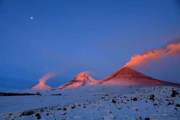 Bezymianny, Kamen and Klyuchevskoy volcanoes