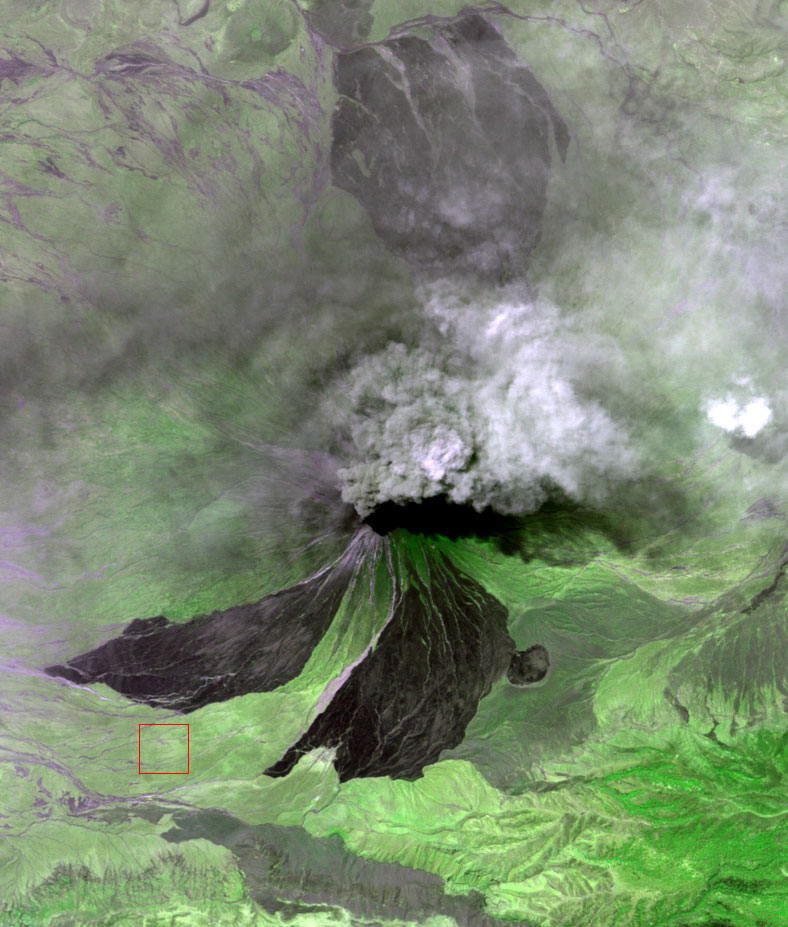 Satellite image of the eruption at Lengai volcano (image: NASA/GSFC/METI/ERSDAC/JAROS, and U.S./Japan ASTER Science Team)