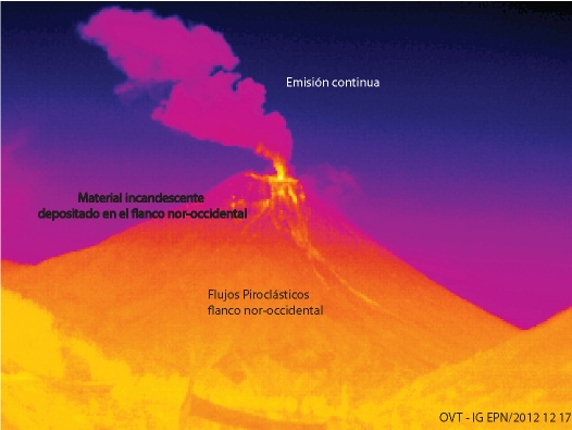 Thermal image of Tungurahua on 8am on 17 Dec (image: S. Vallejo - IGEPN)