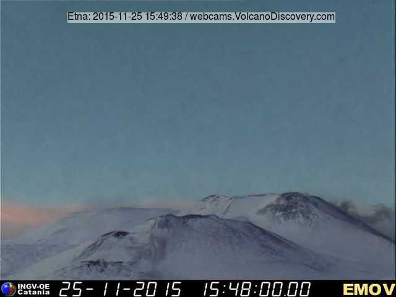 Weak ash emissions from the New SE crater (Montagnola webcam, INGV Catania)