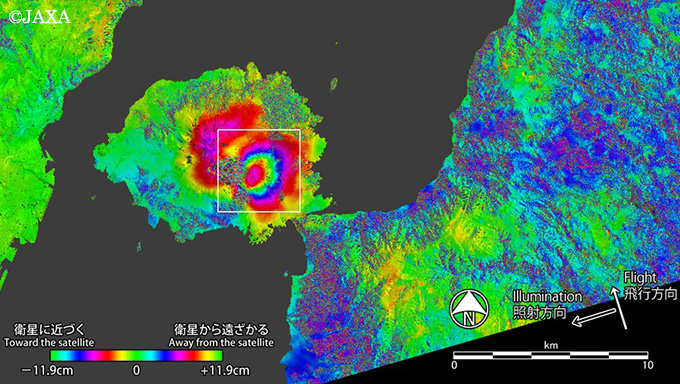 Inferometry map of Sakurajima showing large deformation (inflation) of the summit area
