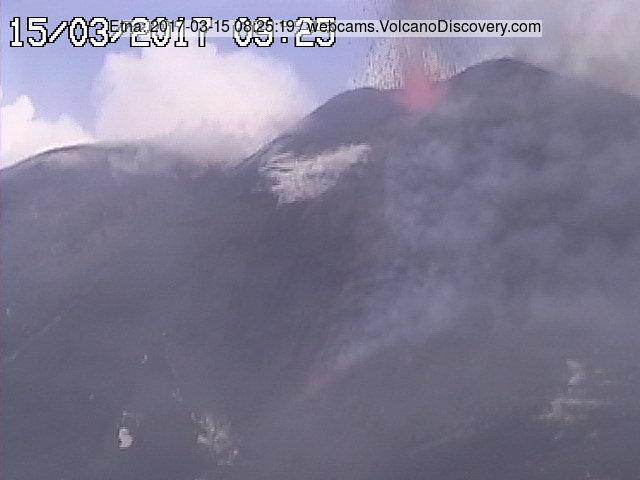 Strombolian activity and lava flow view from Montagnola (Radiostudio7 webcam)