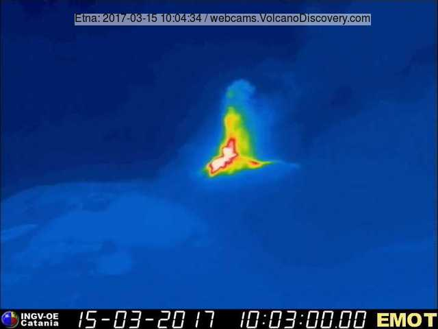Thermal image of the eruption ( INGV Montagnola thermal webcam)