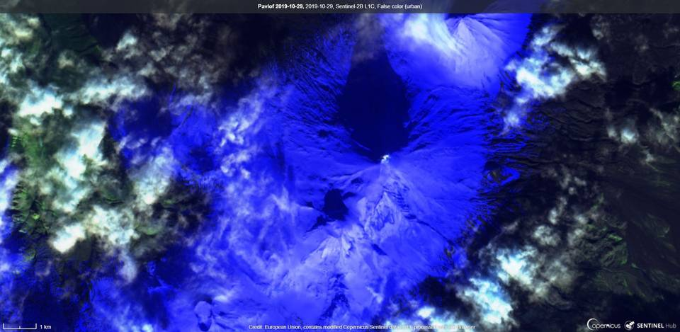 Pavlof volcano visible from satellite Sentinel on 29 October (image: Sentinel)