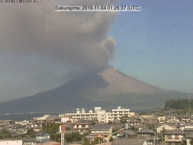 Volcanic plume from Sakurajima volcano yesterday (image: Tarumizu city webcam)