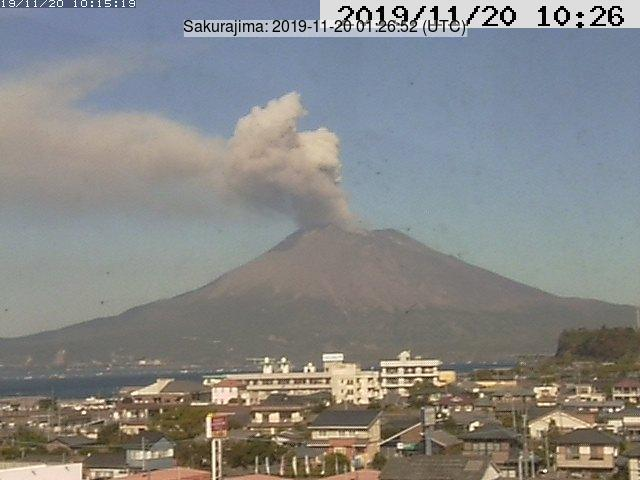 Eruption above the crater of Sakurajima volcano from Tarumizu (image: Tarumizu webcam)