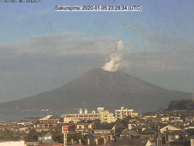 Explosion from Sakurajima´s Showa crater on 5 January (image: Tarumizu City)