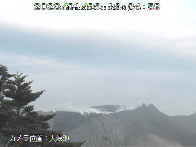 Kirishima's Shinmoedake crater seen yesterday (image: MBC webcam)