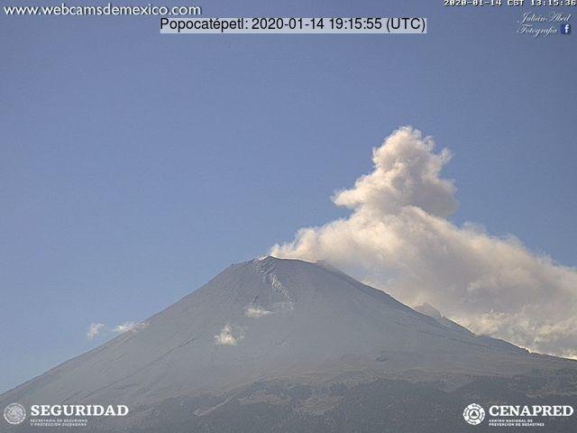 An ash plume from Popocatépetl volcano yesterday (image: CENAPRED)