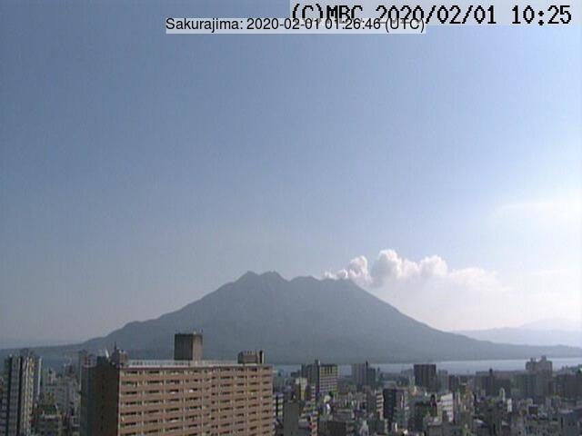 A white plume from Sakurajima volcano (image: JMA)