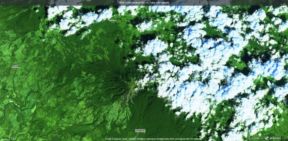 Rincon de la Vieja volcano covered by clouds from satellite (image: Sentinel 2)