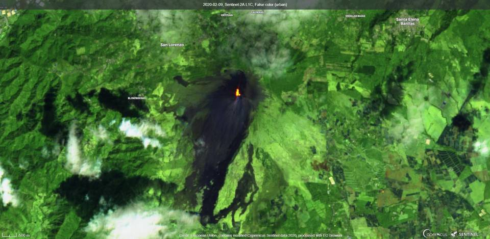 Incandescence from Pacaya volcano on 9 February (image: Sentinel 2)