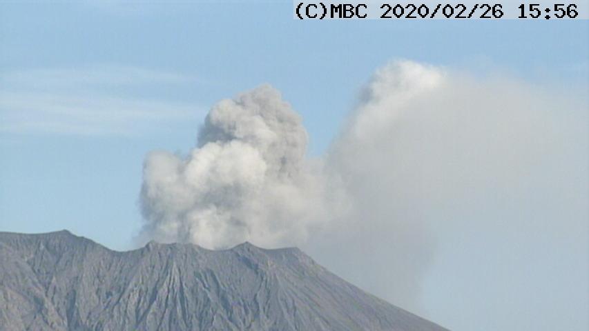 Explosion from Minamidake crater of Sakurajima volcano (image: Kagoshima MBC webcam)