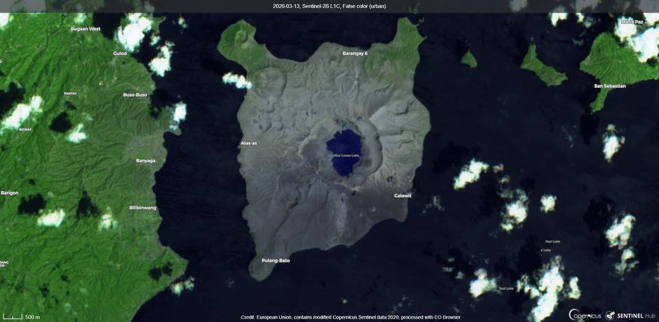 Taal volcano from satellite on 13 March (image: Sentinel 2)