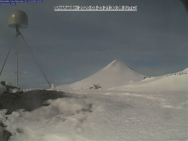 Shishaldin volcano on 23 March (image: AVO)