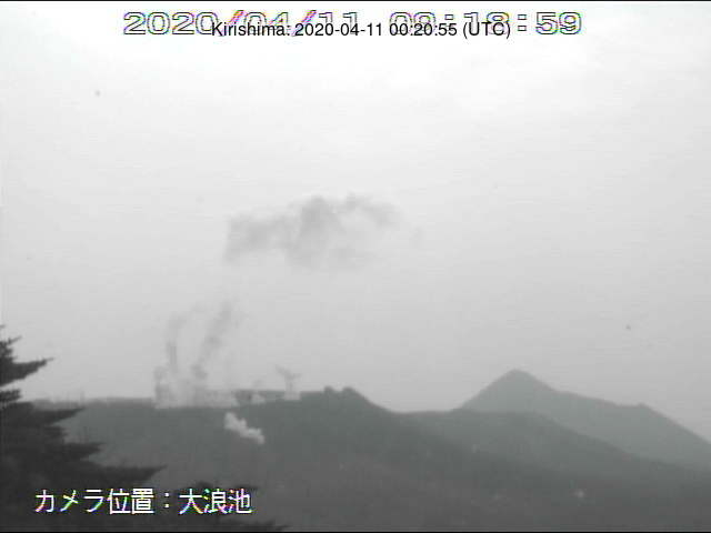 Emissions of gas and steam plumes from Kirishima volcano yesterday (image: MBC webcam)