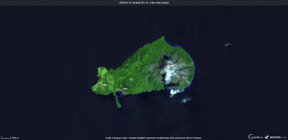 Kikai volcano from satellite (image: Sentinel 2)