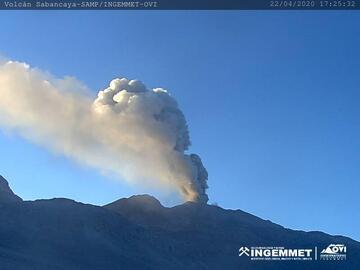 Ash plume from Sabancaya volcano (image: INGEMMET)