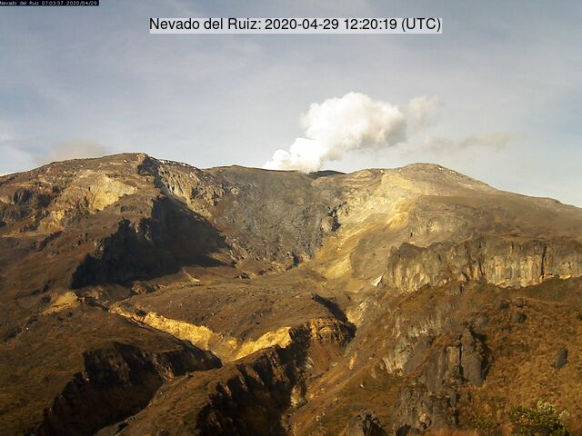 Emissions of gas and steam from Nevado del Ruiz volcano on 29 April (image: INGEOMINAS)