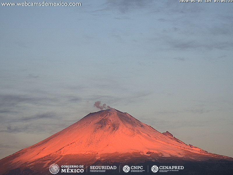 An ash plume from Popocatépetl volcano today (image: Webcams de Mexico)