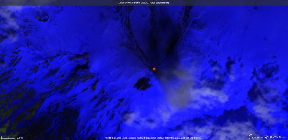 Elevated surface temperature visible from satellite (image: Sentinel 2)