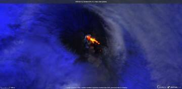 An ash plume and continuing lava flows from Klyuchevskoy volcano from satellite (image: Sentinel 2)