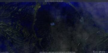 Thermal anomaly visible at Karymsky volcano from satellite (image: Sentinel 2)