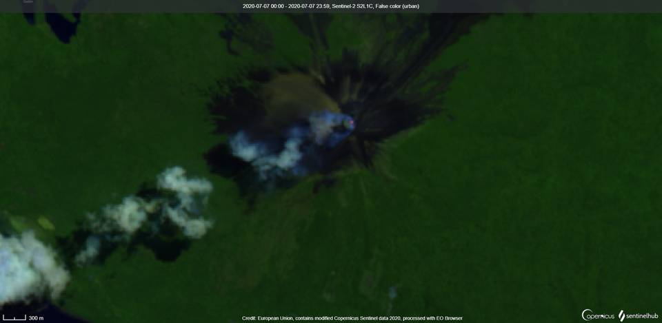 Momotombo volcano from satellite on 7 July (image: Sentinel 2)