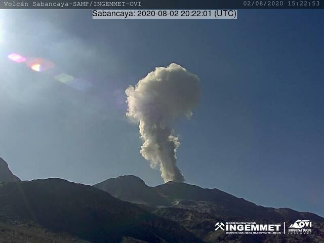 Steam plume from Sabancaya volcano on 2 August (image: INGEMMET)