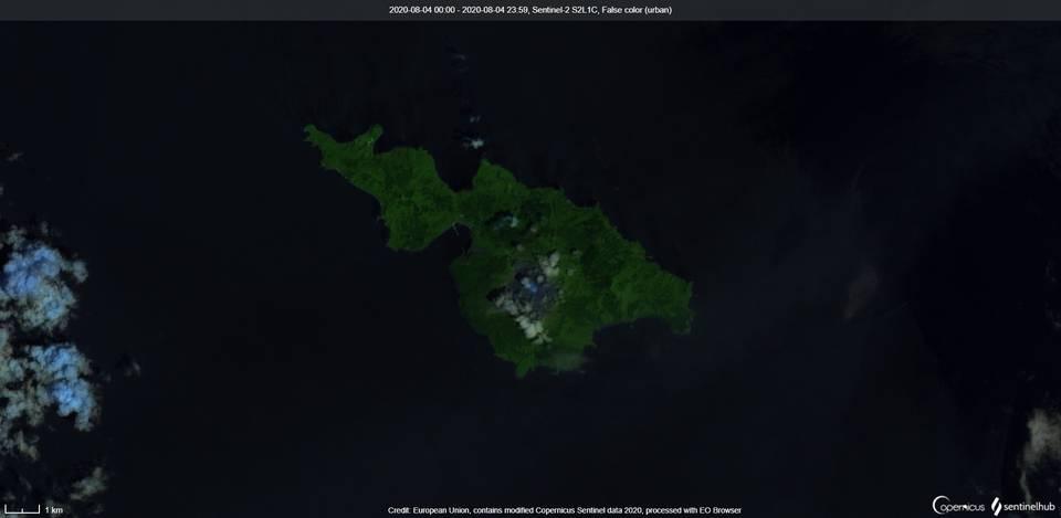 Kuchinoerabu-jima volcano from satellite on 4 August (image: Sentinel 2)