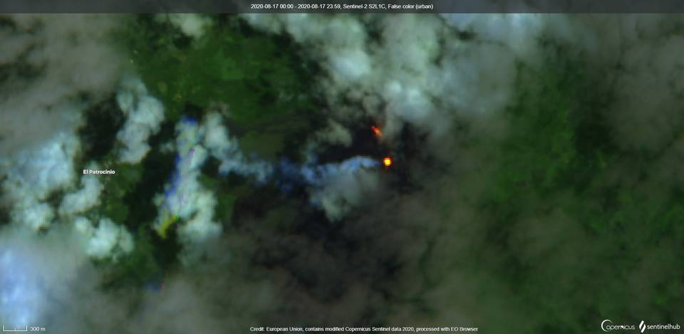 Lava flow on the northwestern flank of the Pacaya volcano from satellite (image: Sentinel 2)