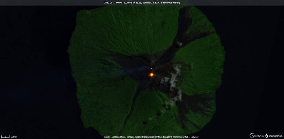 A gas-steam plume and incandescence at Manam volcano visible from satellite (image: Sentinel 2)