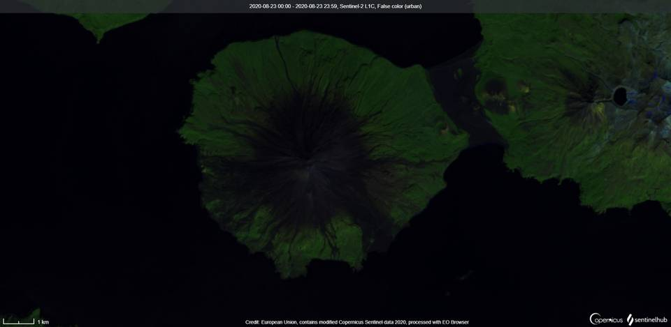 No signs of activity visible at Cleveland volcano from satellite (image: Sentinel 2)