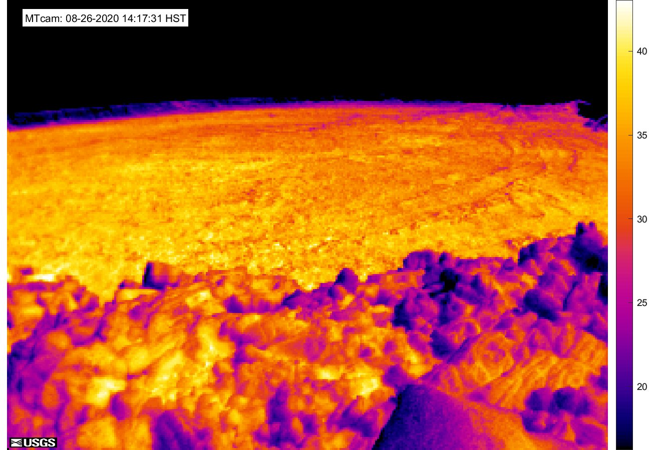 Thermal image at Mauna Loa at northwest rim captured yesterday (image: HVO)